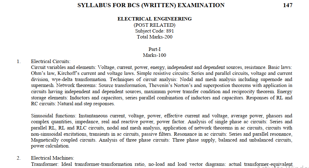 BCS Preparation for Electrical Engineering